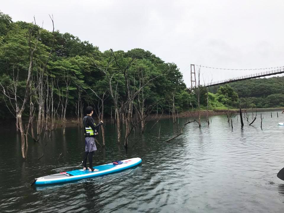 那須の矢野目ダムでSUP体験