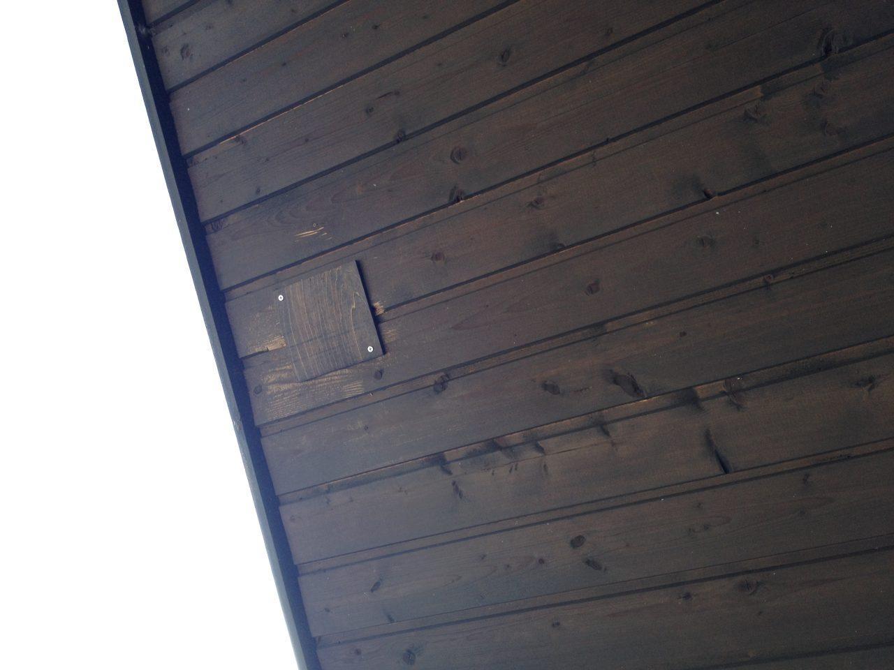 屋根のキツツキ穴の補修