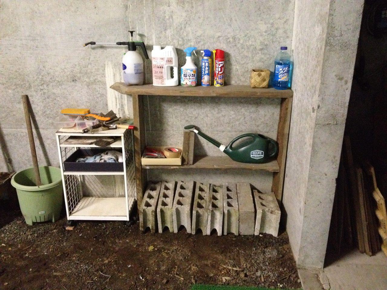 ガレージの物置棚