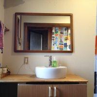 洗面所ミラーの再設置