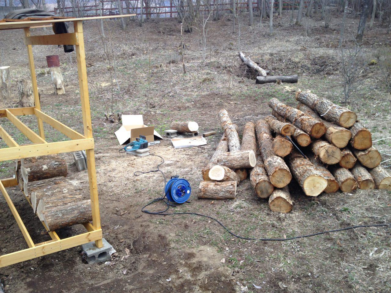 原木の玉切り