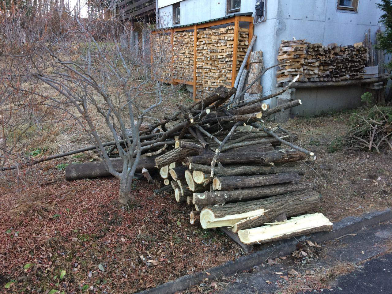 伐採した木をもらいに行く